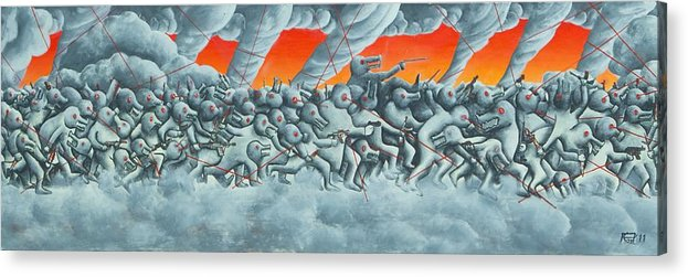 Oil Acrylic Print featuring the painting Search And Destroy by Poul Costinsky