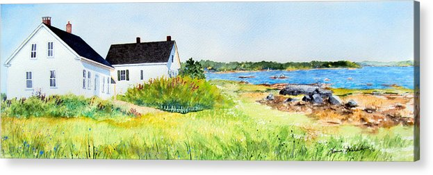 Maine Acrylic Print featuring the painting Shore House by Laura Tasheiko