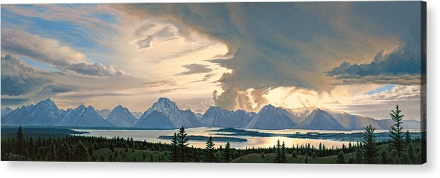 Mountains Acrylic Print featuring the painting Teton Range from Signal Mountain by Paul Krapf
