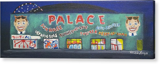 Tillie Of Asbury Park Acrylic Print featuring the painting The Tiny Tiny Palace by Patricia Arroyo