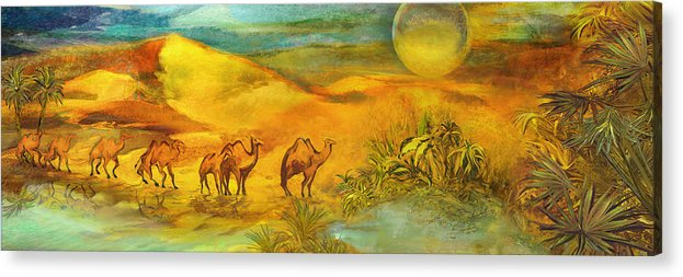 Africa Acrylic Print featuring the painting Arrival At The Oasis by Anne Weirich