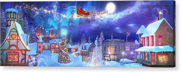 Santa Acrylic Print featuring the painting A Christmas Wish by Joel Payne