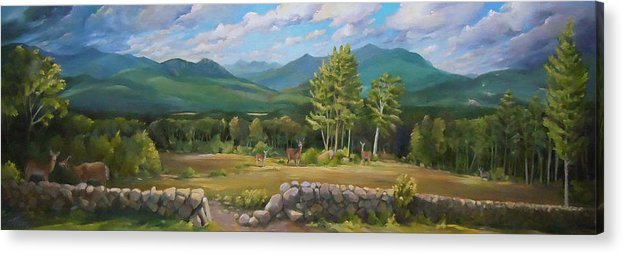 White Mountain Art Acrylic Print featuring the painting A White Mountain View by Nancy Griswold