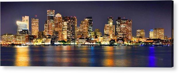 Boston Skyline At Night Acrylic Print featuring the photograph Boston Skyline at NIGHT Panorama by Jon Holiday