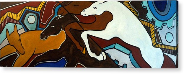 Horse Abstract Acrylic Print featuring the painting Taffy Horses by Valerie Vescovi