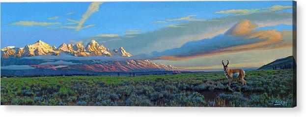 Teton Mountains Acrylic Print featuring the painting Teton Morning by Paul Krapf