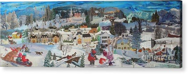 Snow Acrylic Print featuring the mixed media Winter Play - SOLD by Judith Espinoza