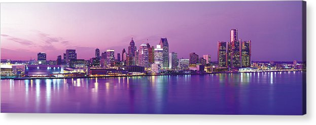 Dawn Acrylic Print featuring the photograph Detroit Under Purple Sky by Jeremy Woodhouse