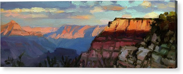 Southwest Acrylic Print featuring the painting Evening Light at the Grand Canyon by Steve Henderson