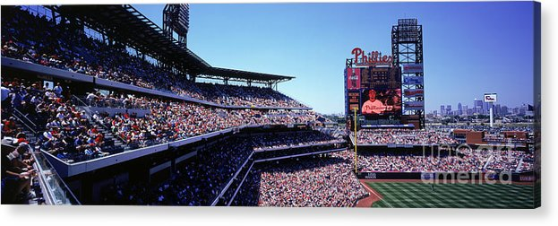 Panoramic Acrylic Print featuring the photograph New York Mets V Philadelphia Phillies by Jerry Driendl