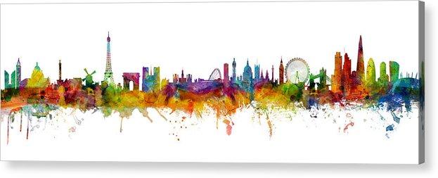 Paris Acrylic Print featuring the digital art Paris and London Skylines mashup by Michael Tompsett