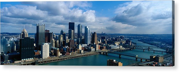 Panoramic Acrylic Print featuring the photograph Usa, Pennsylvania, Pittsburgh, Skyline by Jeremy Woodhouse