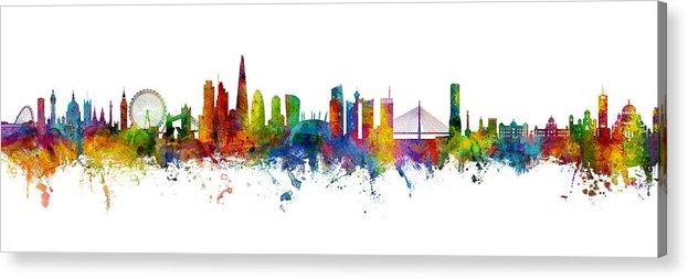 Belgrade Acrylic Print featuring the digital art London and Belgrade Skyline Mashup by Michael Tompsett
