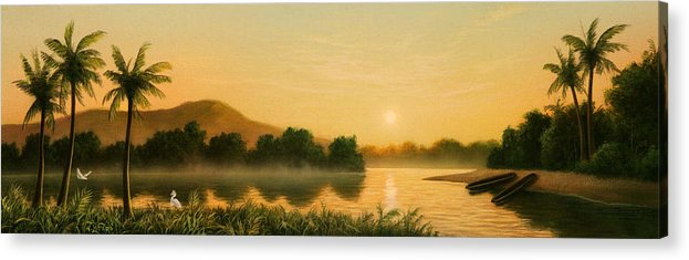 Native American Acrylic Print featuring the painting Seminole Sunset by Jerry LoFaro