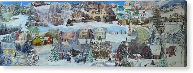 Snow Acrylic Print featuring the mixed media Winter Repose - SOLD by Judith Espinoza