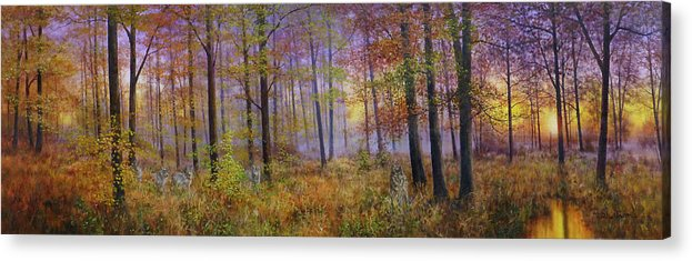 Wolf In A Fall Scene Acrylic Print featuring the painting Autumn Wolves by Bill Makinson