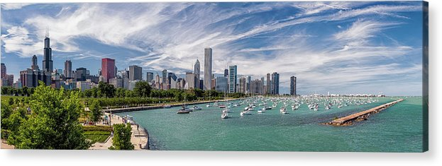 3scape Acrylic Print featuring the photograph Chicago Skyline Daytime Panoramic by Adam Romanowicz