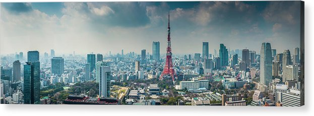 Tokyo Tower Acrylic Print featuring the photograph Tokyo Tower Futuristic Skyscraper by Fotovoyager