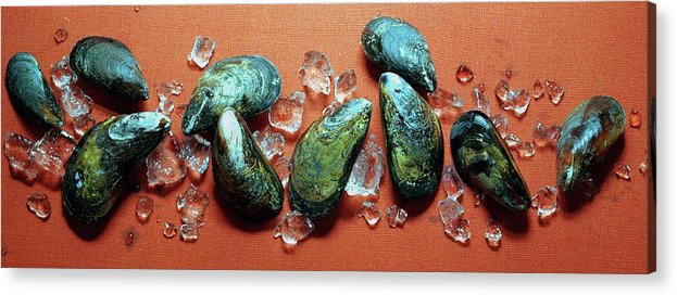 Cooking Acrylic Print featuring the photograph A Cluster Of Mussels by Romulo Yanes