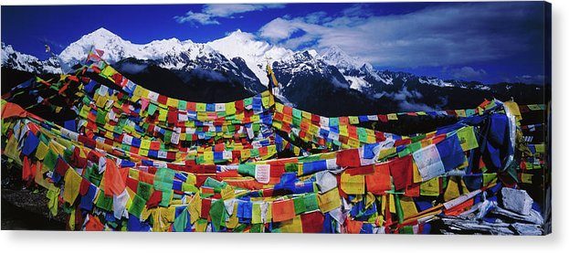Chinese Culture Acrylic Print featuring the photograph Buddhist Prayer Flags With Meili by Richard I'anson
