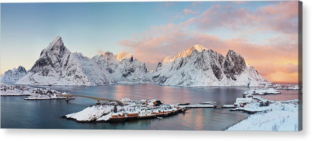 Tranquility Acrylic Print featuring the photograph Lofoten Islands Winter Panorama by Esen Tunar Photography