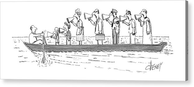 Man Rowing While His Family Acrylic Print featuring the drawing New Yorker October 10th, 1983 by Tom Cheney