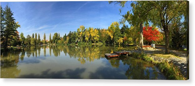 Sindelfingen Acrylic Print featuring the photograph Sindelfingen Germany Lake Klostersee Panorama by Matthias Hauser