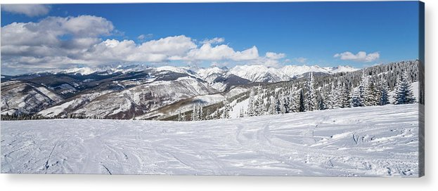 Scenics Acrylic Print featuring the photograph Forest Covered By Snow With Skiing by Miralex