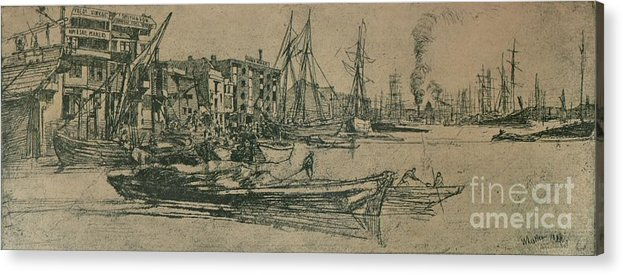 Etching Acrylic Print featuring the drawing Thames Warehouses, 1859, 1904 by Print Collector