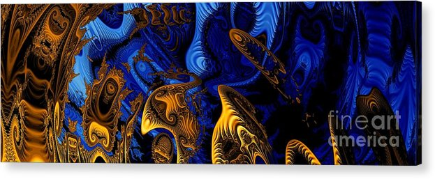 Fractal Art Acrylic Print featuring the digital art Gold On Blue by Ron Bissett