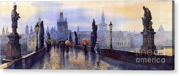 Cityscape Acrylic Print featuring the painting Prague Charles Bridge by Yuriy Shevchuk