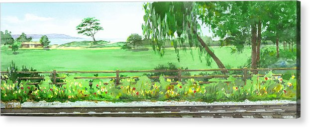 Train Tracks Acrylic Print featuring the painting View from the Island Brewery by Ray Cole