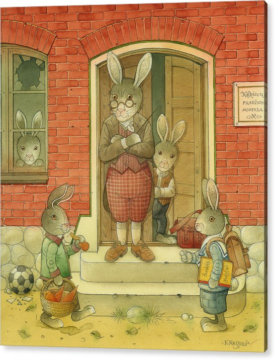 School Hare Red Teacher Acrylic Print featuring the painting Hare School by Kestutis Kasparavicius