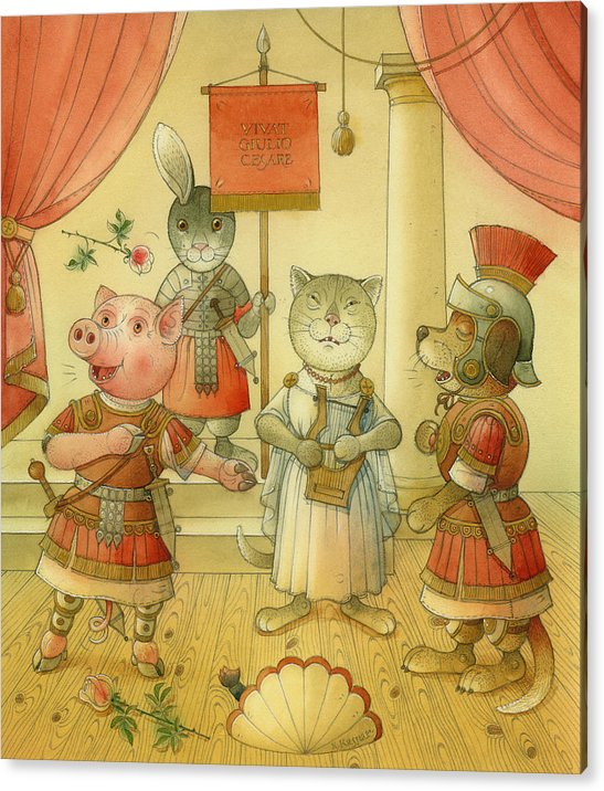 Opera Singer Animals Cat Pig Dog Rabbit Giulio Cesare Acrylic Print featuring the painting Opera by Kestutis Kasparavicius