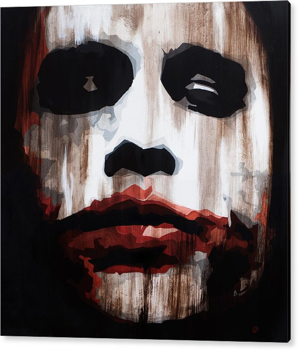 The Joker Acrylic Print featuring the painting Heath Ledger Why So Serious by Brad Jensen