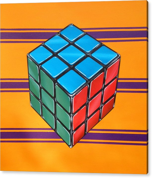 Rubiks Cube Acrylic Print featuring the painting Rubiks by Anthony Mezza