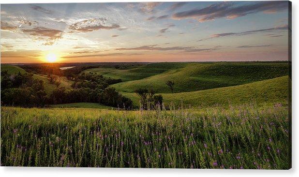 Fine Art America Acrylic Print featuring the photograph Pano - Flint Hills Sunset  by Scott Bean