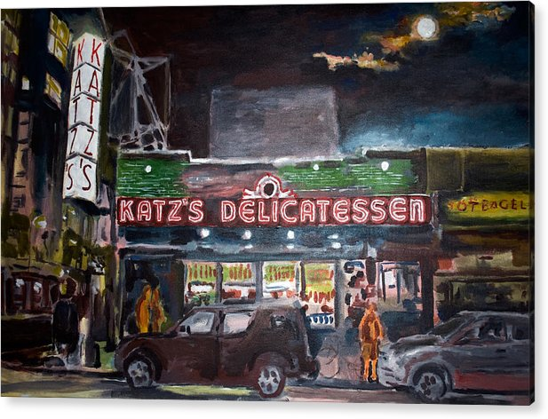 New York City Paintings Acrylic Print featuring the painting Katz Deli by Wayne Pearce