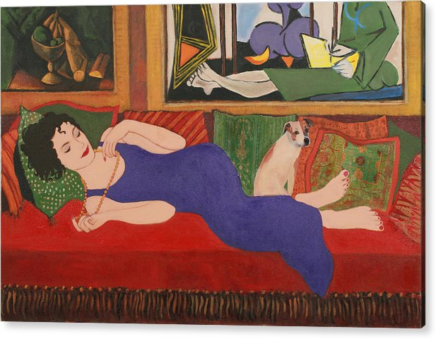Humorous Acrylic Print featuring the painting Lounging With Picasso by Susan Rinehart