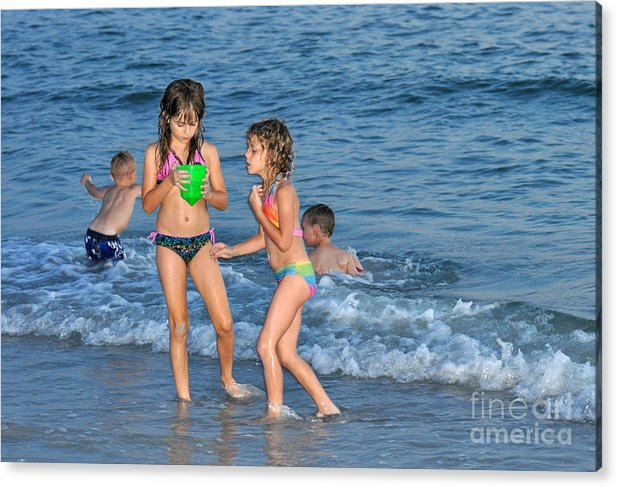 Kids Acrylic Print featuring the photograph Kids At The Beach by Rose Hill