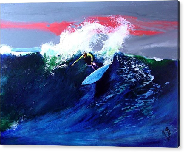 Surf Acrylic Print featuring the painting Winter Sunset Off Swamis Encinitas by Paul Miller