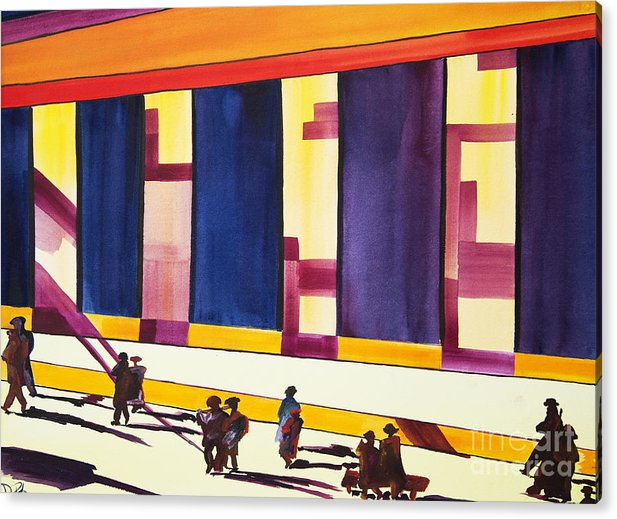 Figures Acrylic Print featuring the painting Morning Commute Cle by JoAnn DePolo