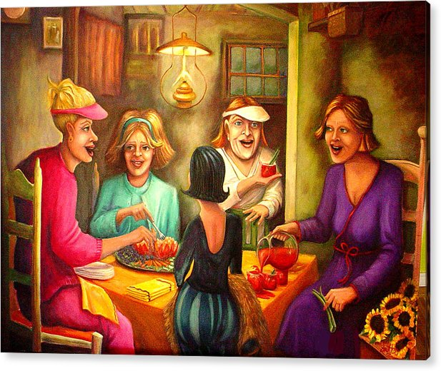 Women Acrylic Print featuring the painting Tomato Eaters by Joetta Currie