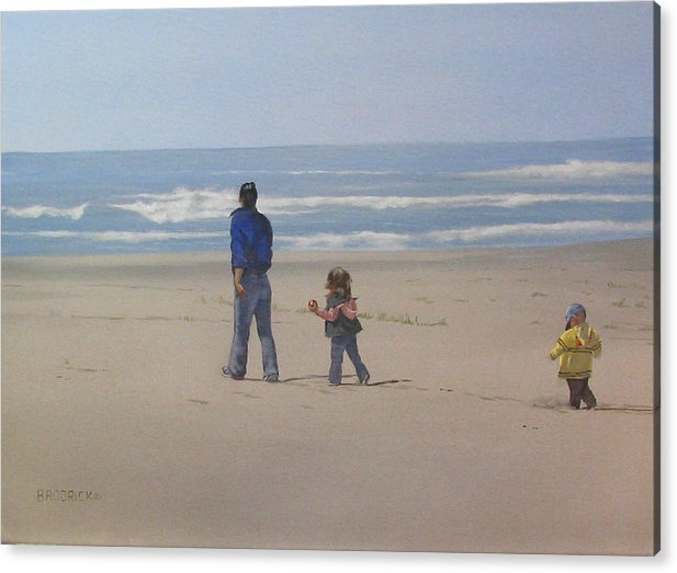 Kids With Their Mom On An Oregon Beach Acrylic Print featuring the painting Follow The Leader by J M Brodrick
