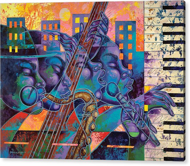 Figurative Acrylic Print featuring the painting Street Songs by Larry Poncho Brown