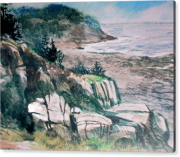 Watercolor;water Media;painting;monhegan Island;maine;sea;seascape;ocean;water;impressionistic; Acrylic Print featuring the painting Monhegan Trail by Don Getz