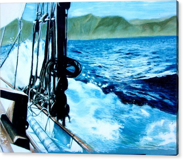 Seascape Acrylic Print featuring the painting Off Maui by Paul Miller