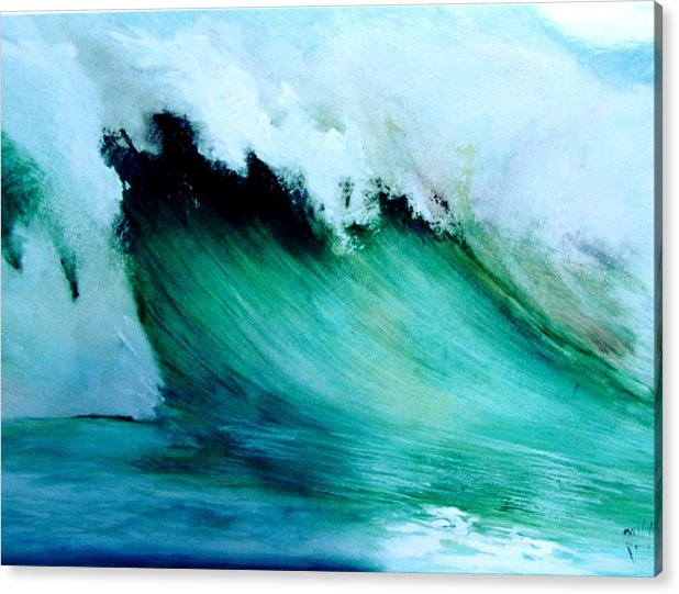 Surf Acrylic Print featuring the painting Slaughterhouse Beach Maui by Paul Miller