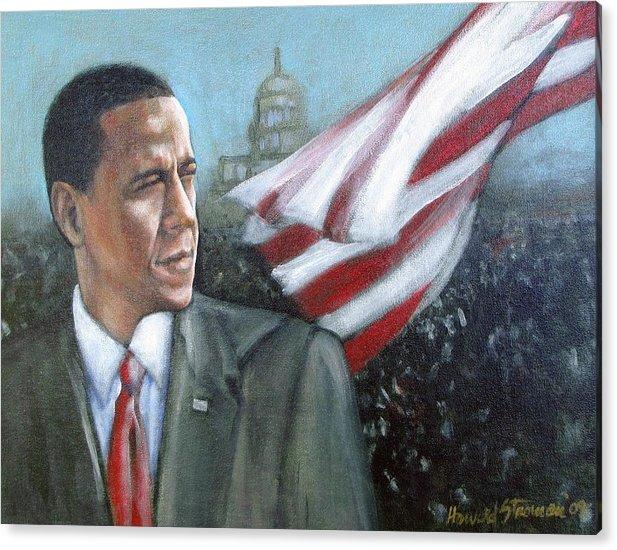 Barack Obama;president;presidential;whitehouse;etc Acrylic Print featuring the painting Barack Obama by Howard Stroman
