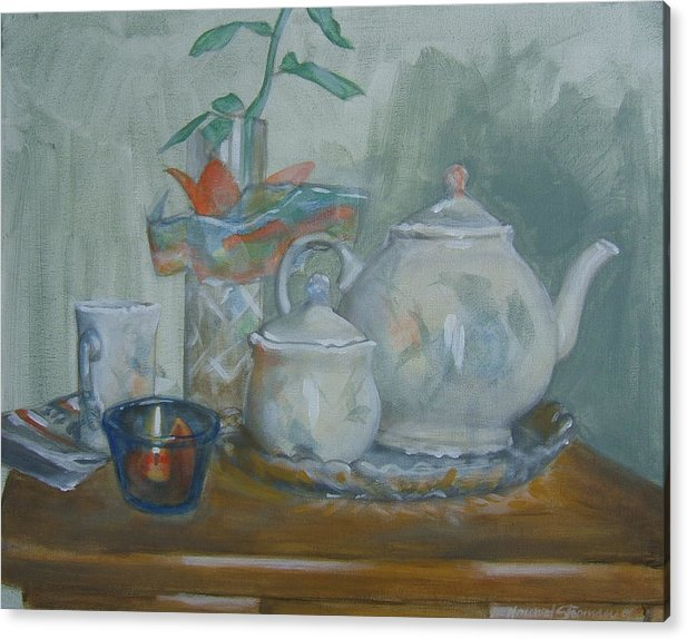 Still Life Acrylic Print featuring the painting Peaceful Morning by Howard Stroman